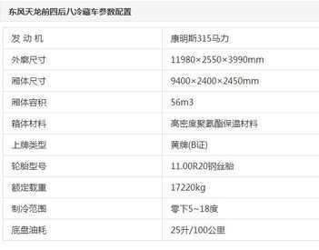 直降1万元 东风天龙9.4米冷藏车促销中