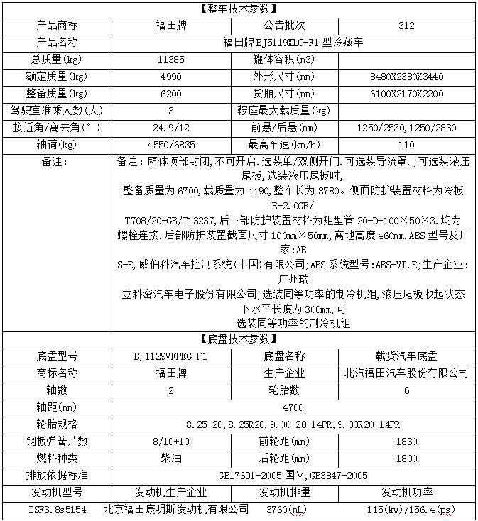 福田奥铃冷藏车6.1米